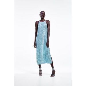 Zara 2828 Teal Sequin Halter Dress!!